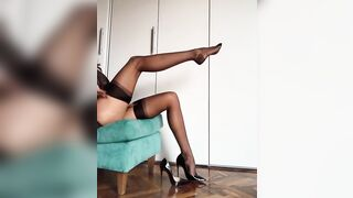 Taking off her stockings