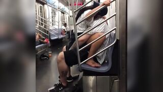 Yankee fans have sex in NYC train - Hold the Moan
