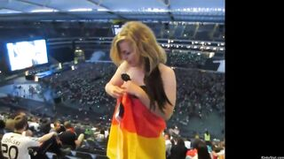 German girl flashes from the last row in a stadium - Hold the Moan