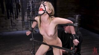Kristen Scott intense orgasm in metal bondage and head harness