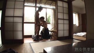 Japanse MILF In a Kimono Sucking Her Young Lover's Dick