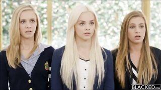 Three beautiful girls, three big black cocks