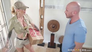 Busty blonde Delivery Milf Sarah Jessie sucks Johnny Sins big dick