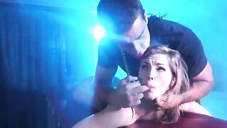 Sexy brunette Ella Nova gets spanked and face fucked by her brutal Dom