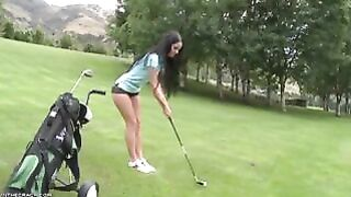 Sweet Girl Shows Her Ass on the Golf Course