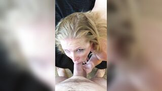 My wife staring into his eyes as she blows a tinder hookup with her wedding ring on his cock - Hot Wife