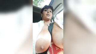 Driving around with huge tits out