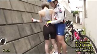 Groping a fellow cyclist in public - Japanese