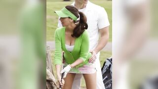 Holy fuck Alison Brie. This gif has me so horny. If I were that guy I don't think I'd be able to resist hiking up that skirt and fucking her right there - Celebs
