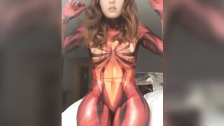 This chick and her 'cosplay'. Hot bodysuit regardless