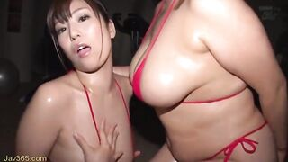 Two juicy babes playing with their tits